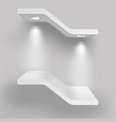 Exhibition shelves with light sources vector