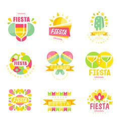 fiesta logo original design set labels for a vector image