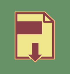 File download sign cordovan icon and vector