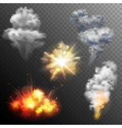 Firework explosions shapes set vector