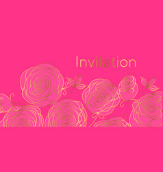 floral invitation color template vector image