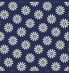 Floral seamless pattern with flat icons of daisy vector