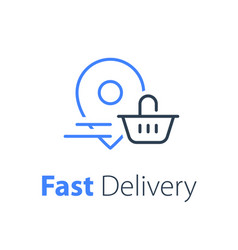 Food delivery grocery basket and location pin vector