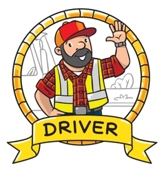 Funny driver or worker Emblem vector
