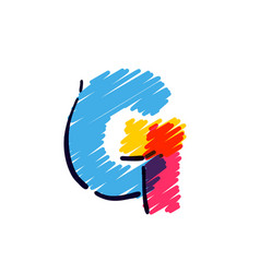 G letter logo hand drawn with a colored pencils vector
