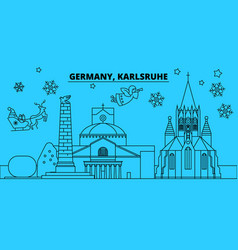 germany karlsruhe winter holidays skyline merry vector image