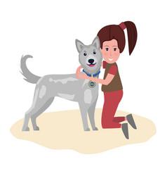 Girl hugging dog best friends ever pet owner kid vector