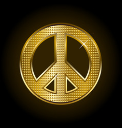 gold peace symbol vector image