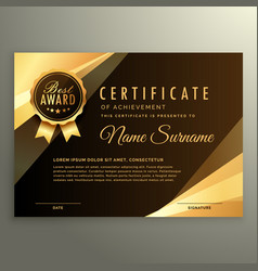 Golden diploma certificate with award symbol vector