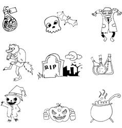 Halloween object in doodle vector