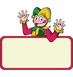 Harlequin with bulletin board vector