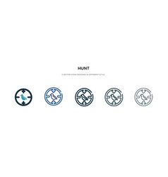 Hunt icon in different style two colored and vector