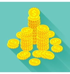 Isometric golden coins vector
