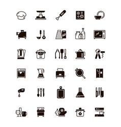 kitchen and cooking black icons isolated on white vector image