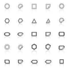 Label line icons with reflect on white background vector