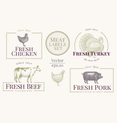 Labels with farm animals set templates logotype vector