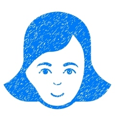 Lady face grainy texture icon vector