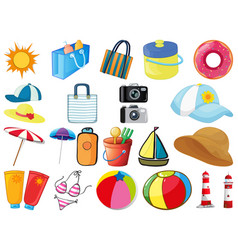 Large set different objects on white background vector