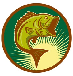 largemouth bass jumping retro style vector image