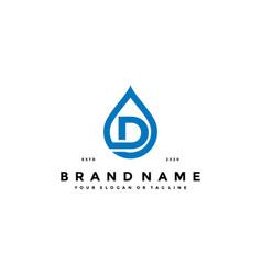 Letter d water drop logo design vector