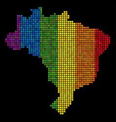 lgbt pixel brazil map vector image