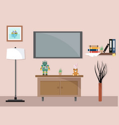 Living room with tv furniture workspace vector