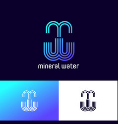 Logo mineral water m and w monogram delivery vector