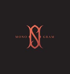 Luxury monogram ns vector