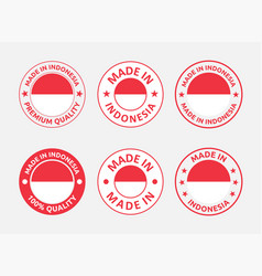 Made in indonesia labels set republic vector