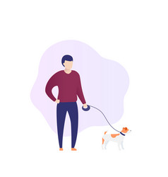 Man with jack russell vector