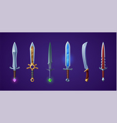 medieval swords weapons of knight or warrior vector image