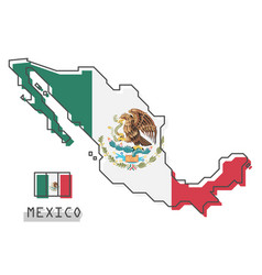 mexico map and flag modern simple line cartoon vector image
