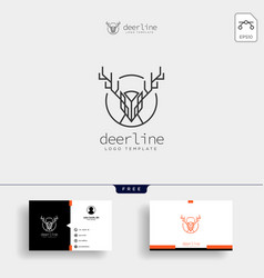 Minimal deer outline or line art logo template vector