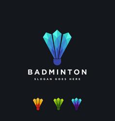 modern crystal diamond shuttlecock badminton logo vector image