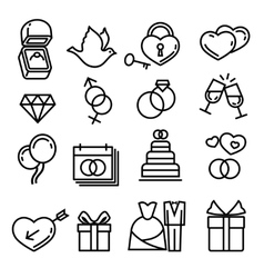 Modern thin line wedding icons vector
