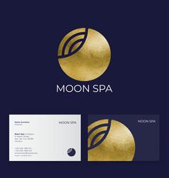 Moon spa logo hotel spa emblems golden moon and vector