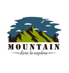 night mountain explorer adventure logo vector image