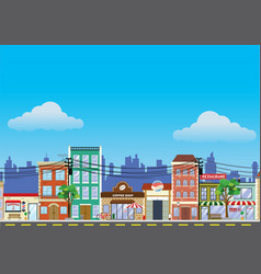 Old building and shopping street market vector