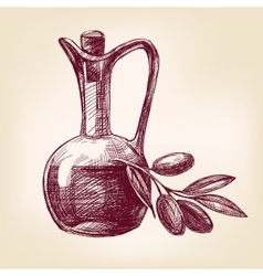 olive oil with olives hand drawn vector image