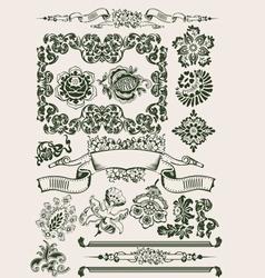 One Color Flowers Vintage Clipart vector