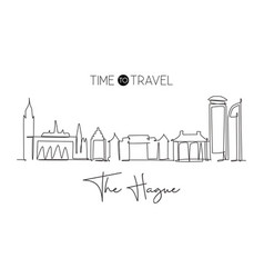 one single line drawing hague city skyline vector image