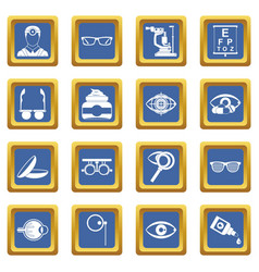 Ophthalmologist tools icons set blue vector