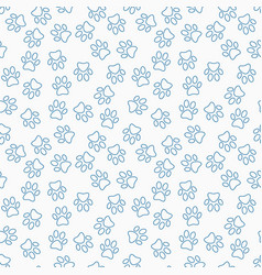 Paw print line seamless pattern vector