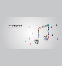 people crowd gathering in musical note shape vector image