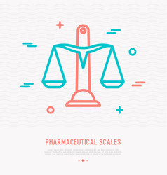 pharmaceutical scales thin line icon vector image