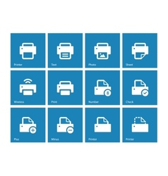 Printer icons on blue background vector image