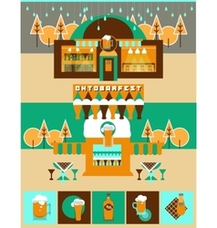 Pub and Bar set with Beer icons and Label vector image