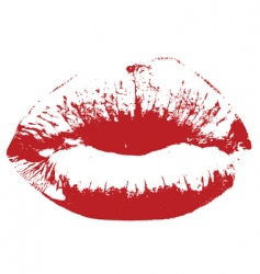 red kiss lips vector image