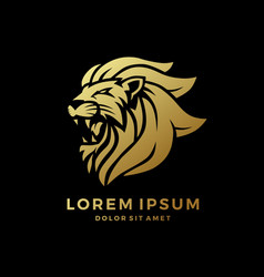 Roaring lion logo king gold on black background vector