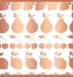 rose gold copper foil fruits pattern tile vector image